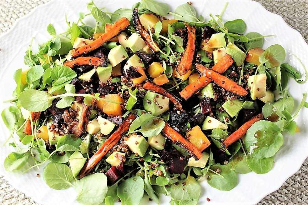 Red Quinoa Salad with Roasted Carrots and Beets