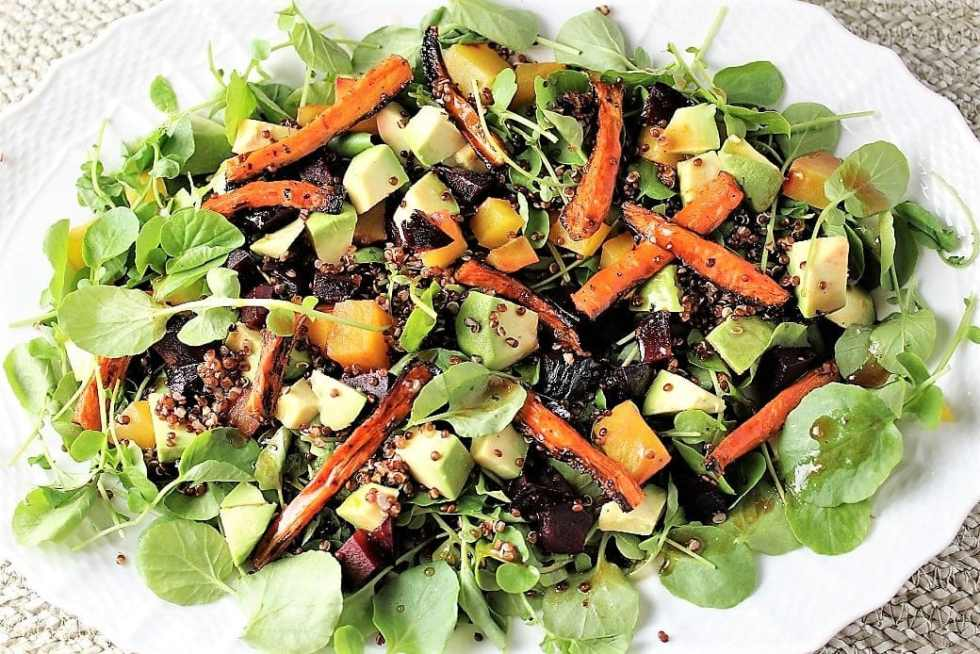 Red Quinoa with Roasted Carrots and Beets combined with watercress, avocado and a flavourful orange dressing. Healthy, pretty and delicious.