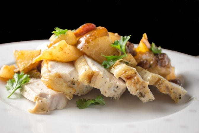 Roast turkey breast with pear chutney