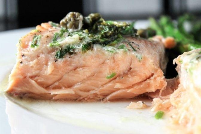 Sous Vide Salmon with Lemon Caper Sauce