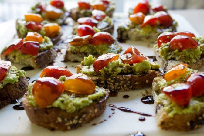 Easy Avocado Crostini with Balsamic Drizzle