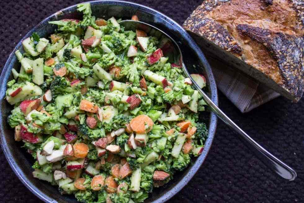 Broccoli Apple Slaw with Avocado Dressing