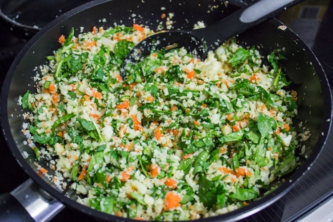 Cauliflower-Carrot 'Rice', Spinach and Beets