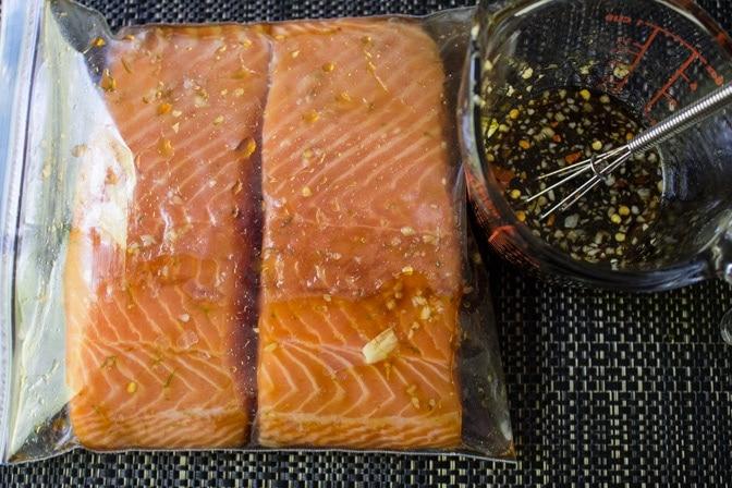 Maple Lime Salmon marinating