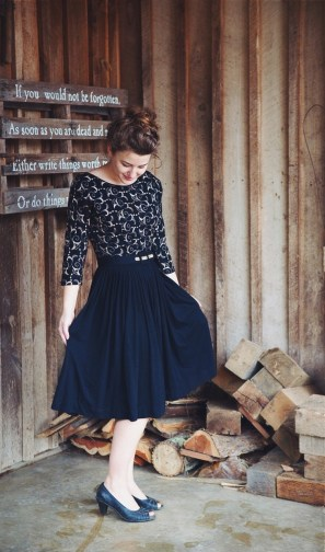 ellen-wearing-1950s-vintage-dress-gold-black-knit-two-old-beans-vintage-clothing-store