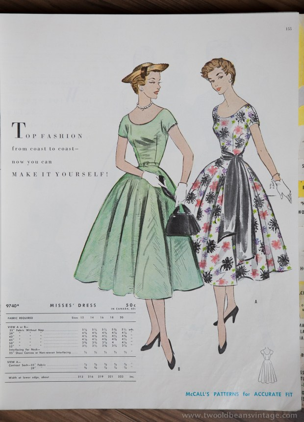 9740 Mccalls 1954 Winter Vintage Pattern | 1950s Two Old Beans Vintage Clothing