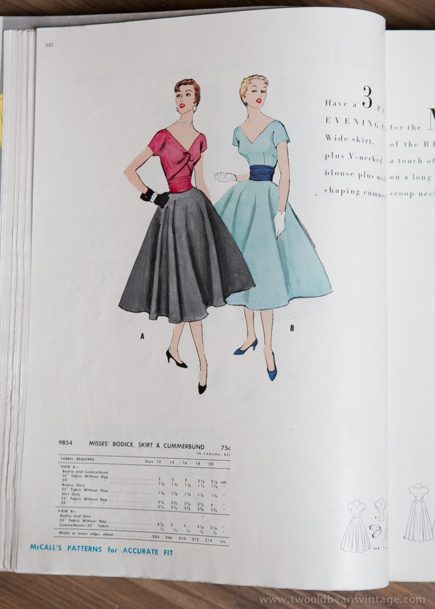 9854 Mccalls 1954 Winter Vintage Pattern | 1950s Two Old Beans Vintage Clothing