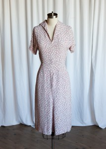 Double Bubble dress | vintage 40s dress | 1940s rayon dress | pink / black rayon print dress
