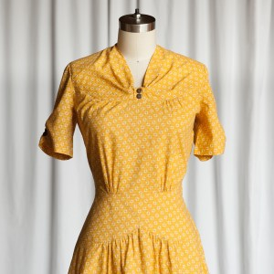 Goldenrod dress | 40s repro dress | vintage reproduction 1940s dress | mustard yellow cotton print dress