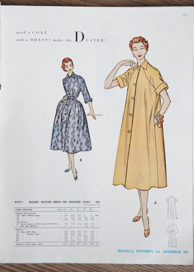 9721 Mccalls 1954 Winter Vintage Pattern | 1950s Two Old Beans Vintage Clothing