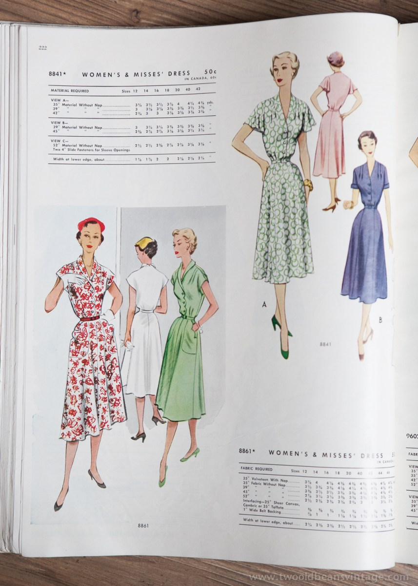 8841 + 8861 Mccalls 1954 Winter Vintage Pattern | 1950s Two Old Beans Vintage Clothing