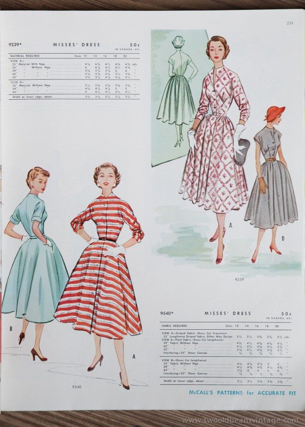 9239 + 9540 Mccalls 1954 Winter Vintage Pattern | 1950s Two Old Beans Vintage Clothing
