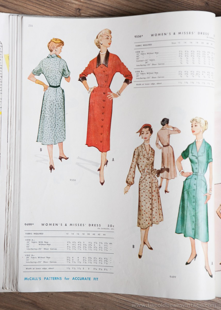 9556 + 9499 Mccalls 1954 Winter Vintage Pattern | 1950s Two Old Beans Vintage Clothing