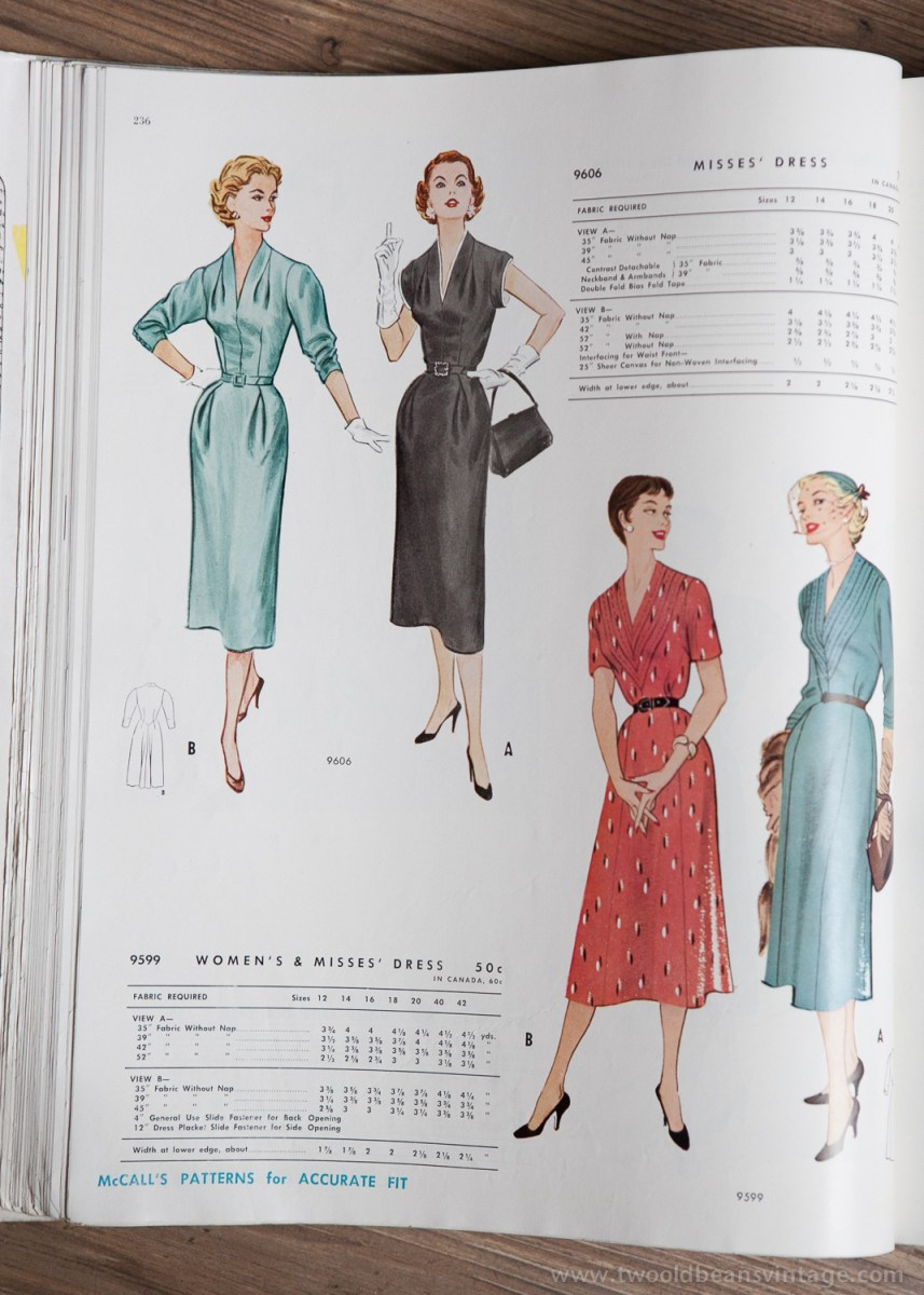 9606 + 9599 Mccalls 1954 Winter Vintage Pattern | 1950s Two Old Beans Vintage Clothing