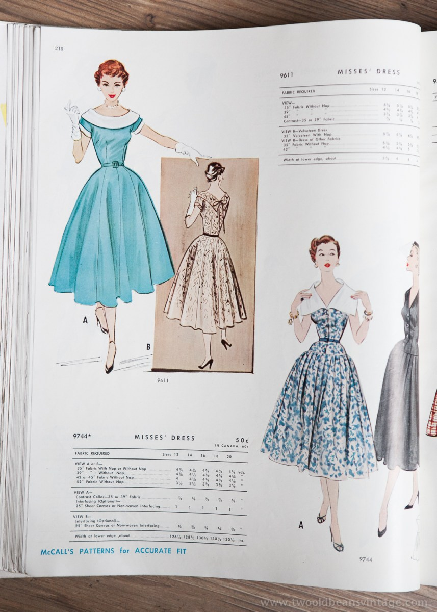 9611 + 9744 Mccalls 1954 Winter Vintage Pattern | 1950s Two Old Beans Vintage Clothing
