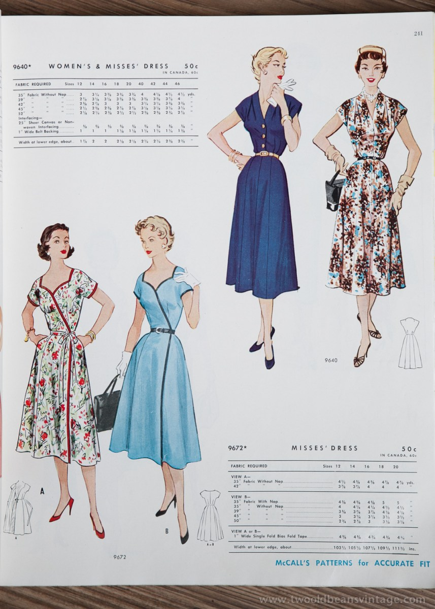 9640 + 9672 Mccalls 1954 Winter Vintage Pattern | 1950s Two Old Beans Vintage Clothing