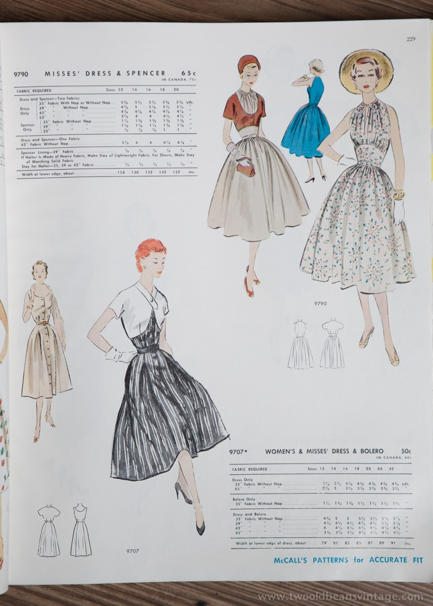 9790 + 9707 Mccalls 1954 Winter Vintage Pattern | 1950s Two Old Beans Vintage Clothing
