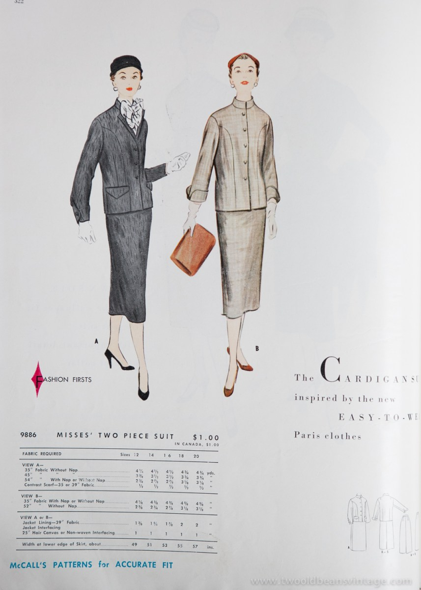 9886 Mccalls 1954 Winter Vintage Pattern | 1950s Two Old Beans Vintage Clothing