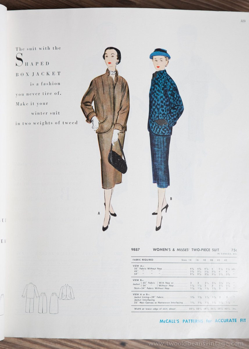 9887 Mccalls 1954 Winter Vintage Pattern | 1950s Two Old Beans Vintage Clothing