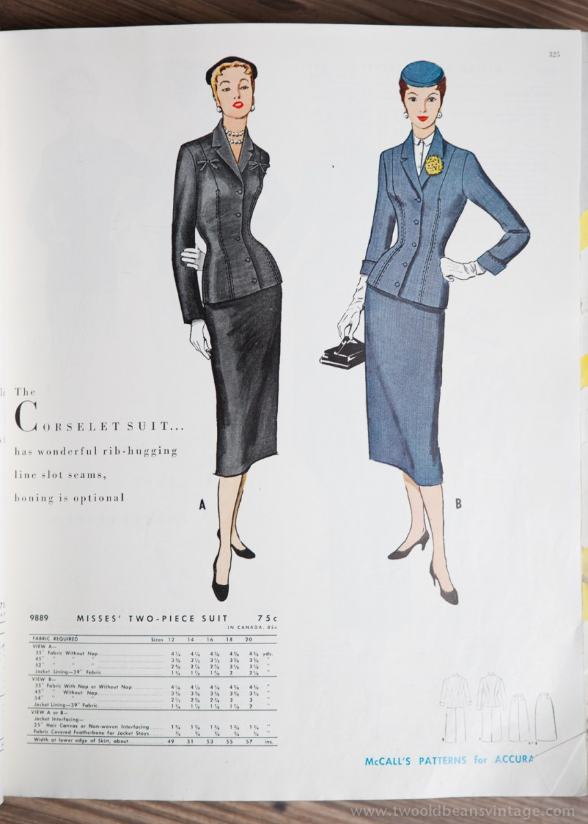 9889 Mccalls 1954 Winter Vintage Pattern | 1950s Two Old Beans Vintage Clothing