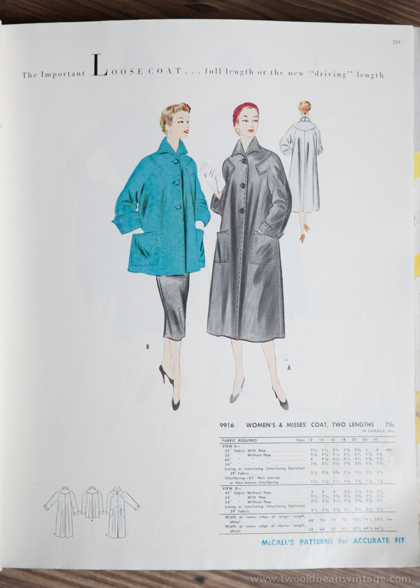 9916 Mccalls 1954 Winter Vintage Pattern | 1950s Two Old Beans Vintage Clothing