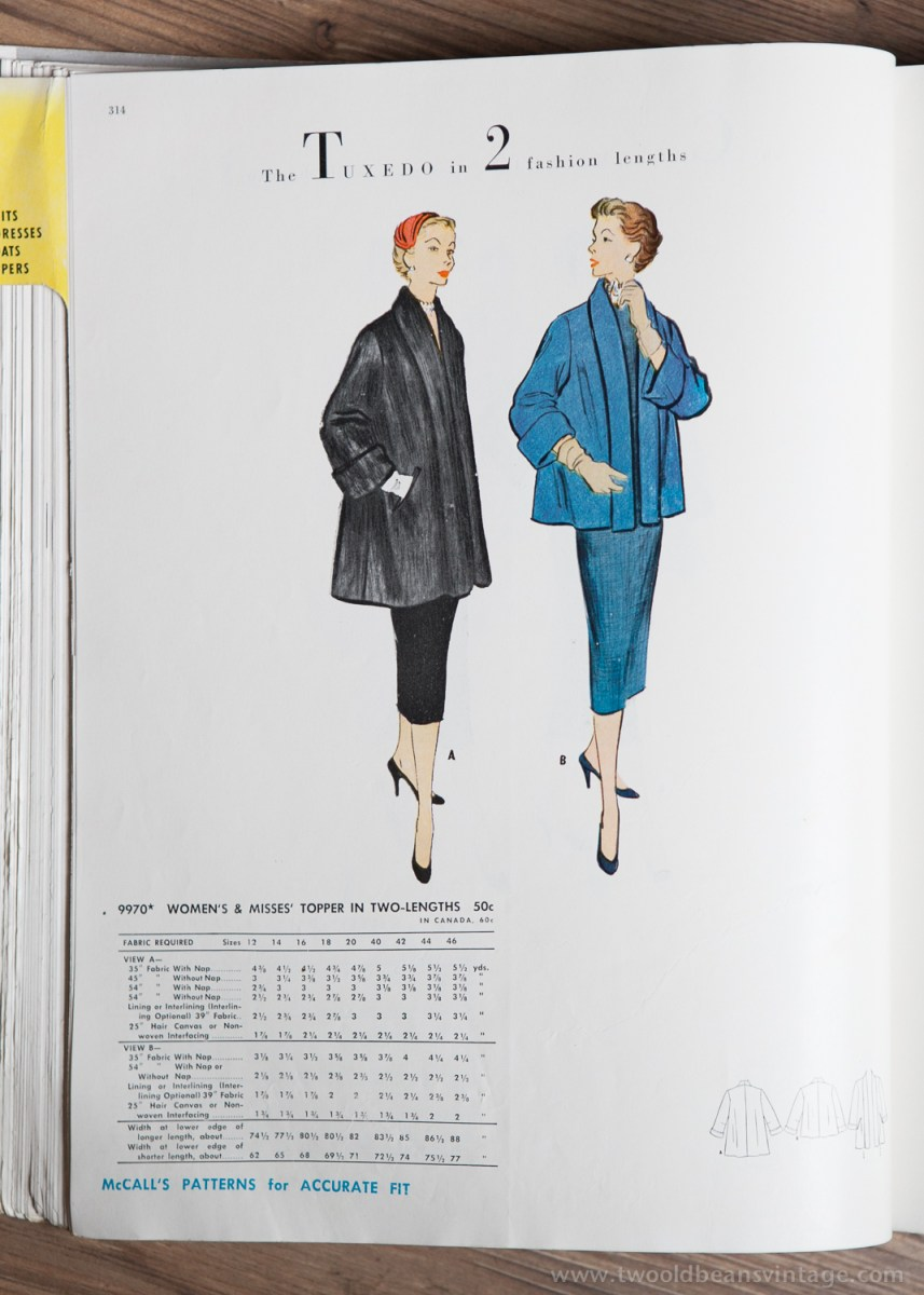 9970 Mccalls 1954 Winter Vintage Pattern | 1950s Two Old Beans Vintage Clothing