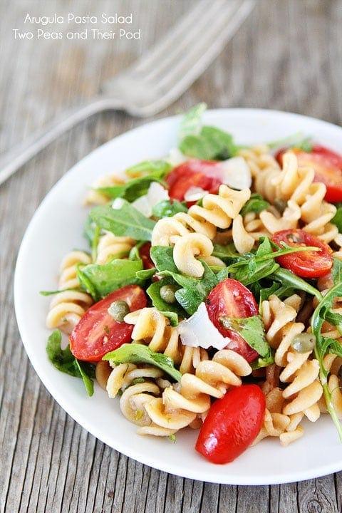 Arugula Pasta Salad Recipe on twopeasandtheirpod.com