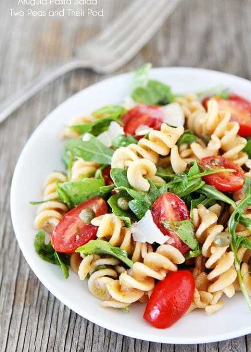 Arugula Pasta Salad Recipe on twopeasandtheirpod.com