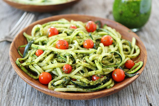 Zucchini Noodles with Pesto Recipe on twopeasandtheirpod.com You only need 15 minutes to make this dish!