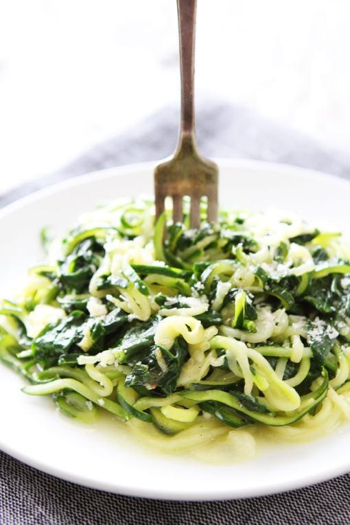 Gluten-Free Spinach Parmesan Zucchini Noodles