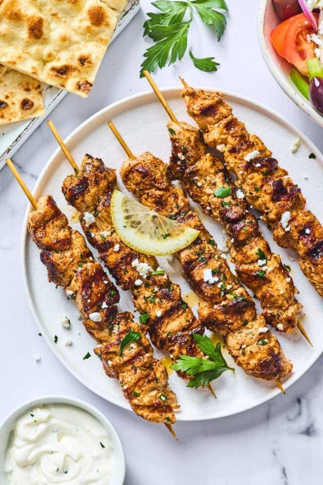 easy Greek chicken kabobs on plate