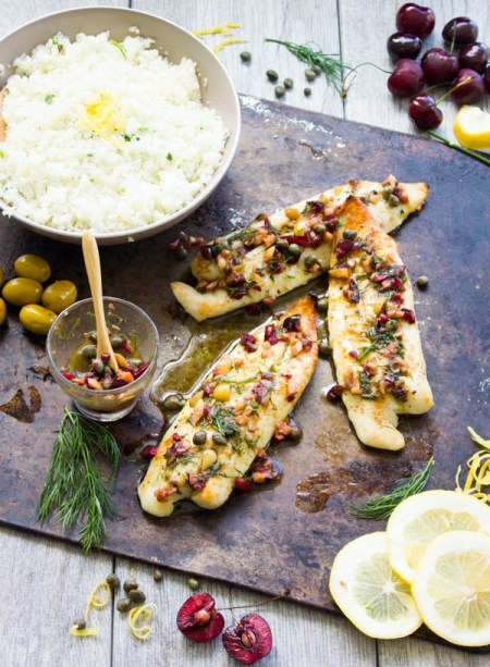 Baked Fish With Dill Cherry Salsa And Lemon Cauliflower Rice