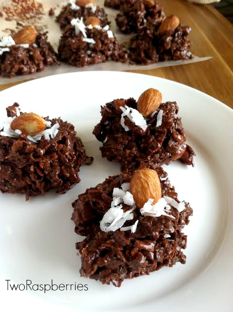 Gooey Chocolate Almond Coconut Stacks
