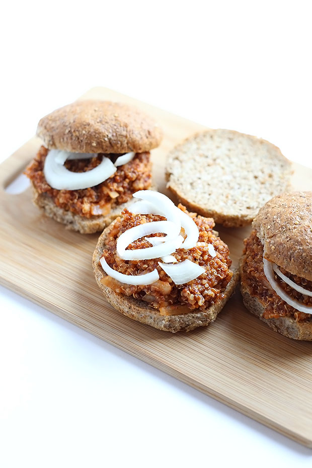 These Easy Vegan Quinoa Sloppy Joes are flavorful and spicy, messy and delicious, healthy and easy, made from quinoa and completely vegan and gluten free! / TwoRaspberries.com