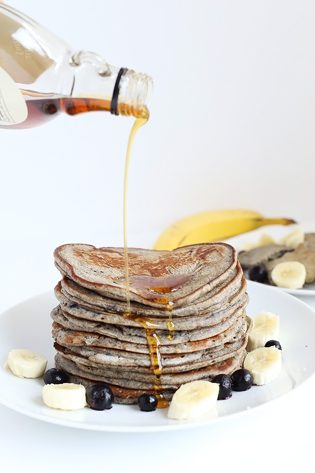 Healthy Blueberry Banana Buckwheat Pancakes are super easy, tastes like blueberry and banana's, only requires 8 ingredients and they're vegan plus GF! / TwoRaspberries.com