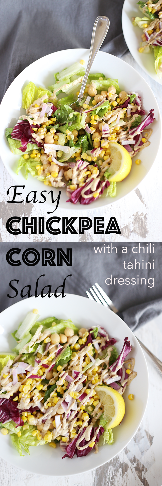 This Easy Clean Chickpea Corn Salad is healthy, quick and easy to make, packed with protein and healthy fats, paired with a chili tahini dressing! Vegan, GF | TwoRaspberries.com