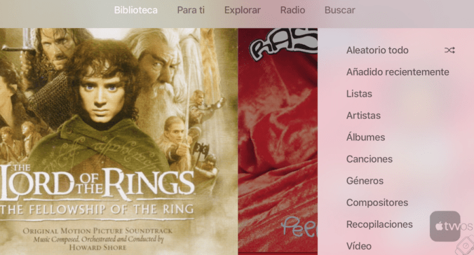 Biblioteca Musica Apple TV