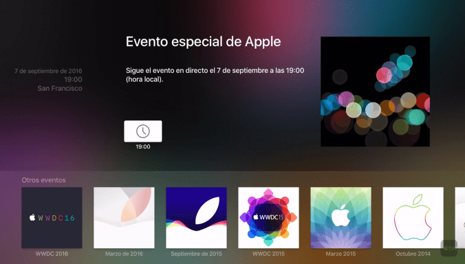 Apple Events en Apple TV 4