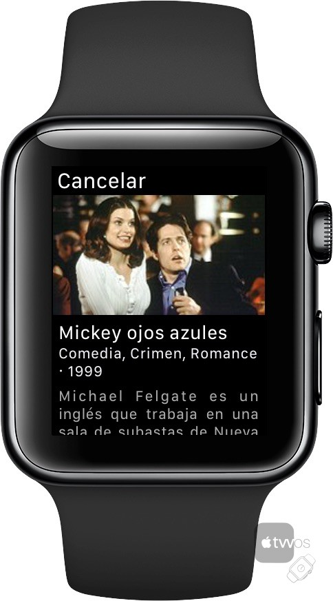 Detalle de programa en Mi Guía TV de Apple Watch