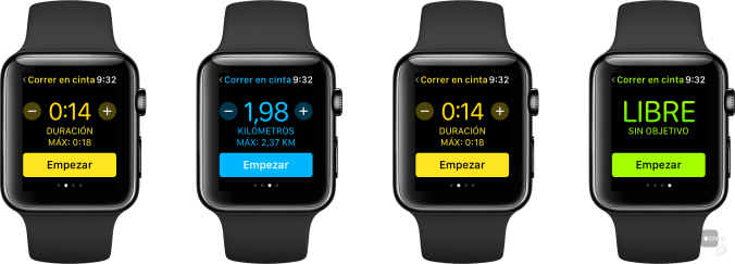 Elegir objetivo en App de entreno del Apple Watch