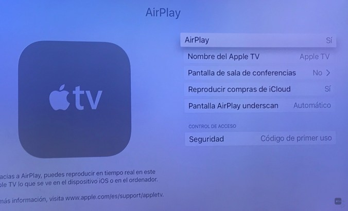 Airplay en Apple TV 4 con tvOS 10.2