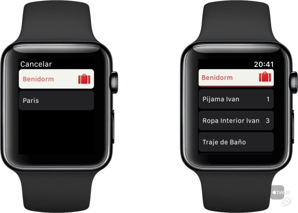 Listas de Viaje en Apple Watch