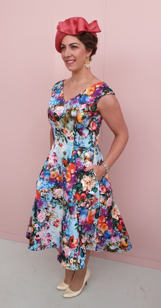 Melbourne Cup - Vogue 1172 and skirt Vogue 1486 - Darn Cheap Fabric - Two Sewing Sisters