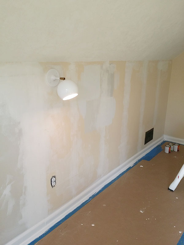 Skimming Wallpaper Seams During the Craft Studio and Home Office Remodel