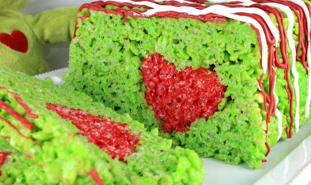 Grinch Rice Krispie Cake Two Sisters