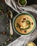 creamy horseradish soup served with homemade croutons and parsley