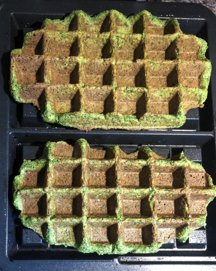 savory sweet potato and spinach waffles in iron