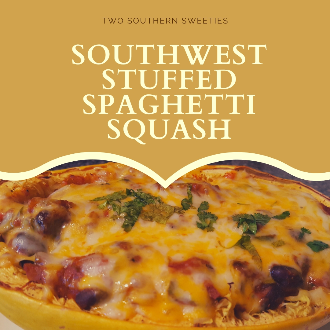 Southwest Stuffed Spaghetti Squash - Super easy, vegetarian, cheesy deliciousness! This is a great meal for Meatless Mondays | vegetarian recipes | pescatarian recipes | meatless monday recipes | southwest recipes | southwestern | | two southern sweeties | #vegetarian