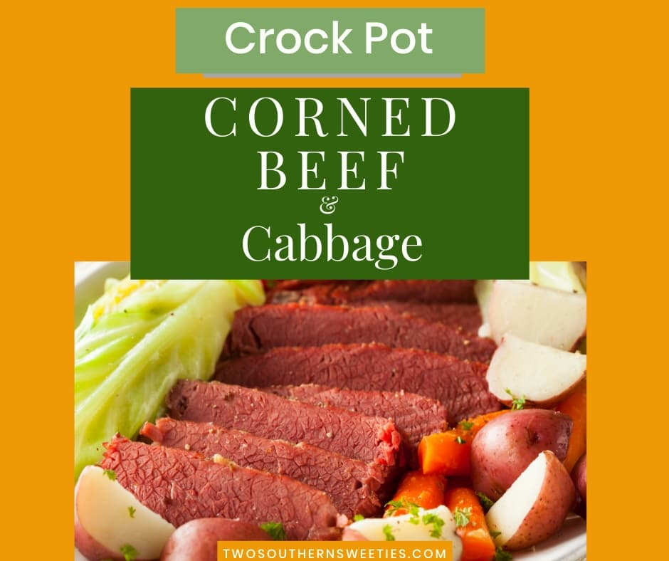 Traditional St. Patricks Day Corned Beef and Cabbage dinner recipe for the slow cooker / crock pot. #cornedbeef #crockpotrecipes