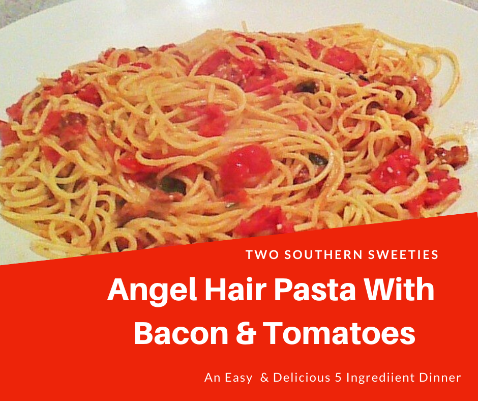Angel Hair Pasta With Bacon & Tomatoes is made with 5 fresh ingredients and will take approximately 5 minutes to make. Quick, easy and delicious!